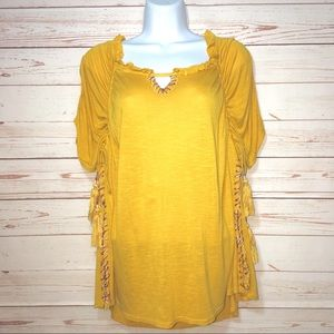 Anthropologie Postmark Mustard Yellow Boho Top SM
